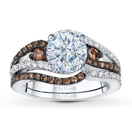 hover to zoom - Chocolate Diamonds Wedding Rings